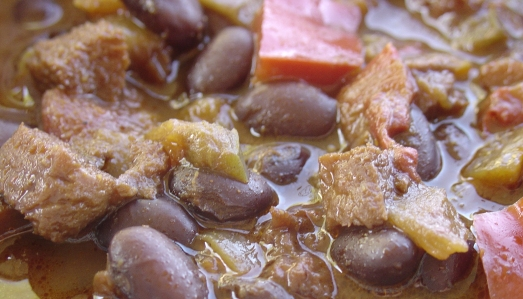 Close-up of Chili Sin Carne al Mole