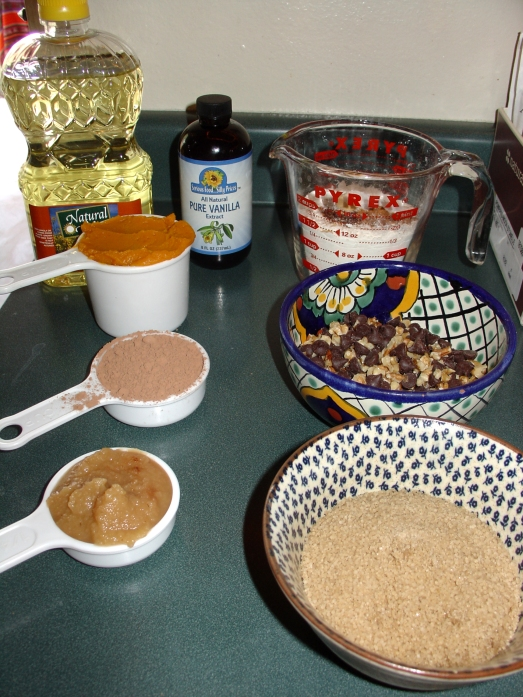 Magically Appearing Chocolate Pumpkin Muffin Ingredients