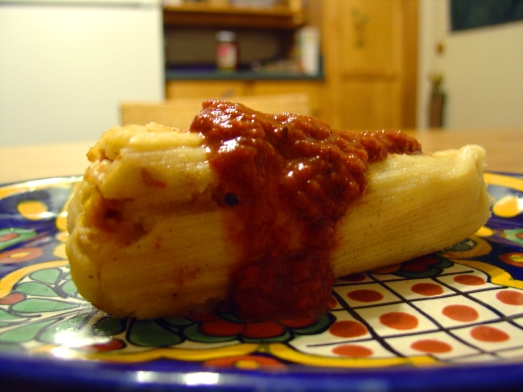 Perfect Red-Chile Seitan Tamale, angle one.