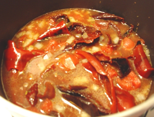 Red Chile Sauce, cooking.