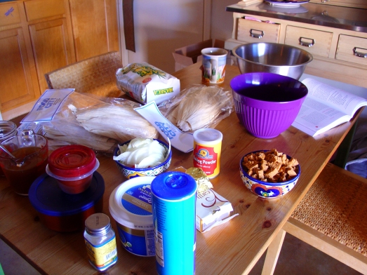 Tamale-making ingredients.