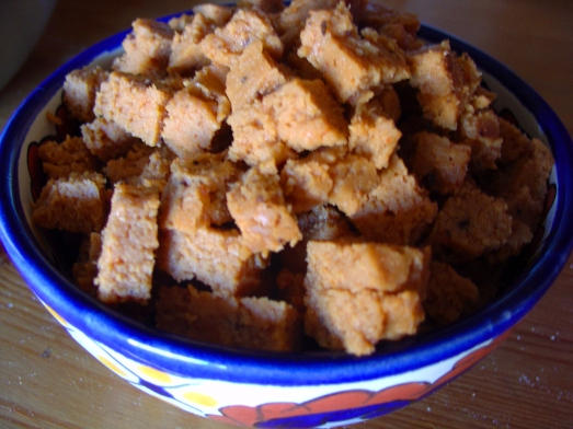Cubed Steamed Red Seitan