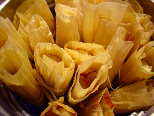 Tamales: Moments before steaming.