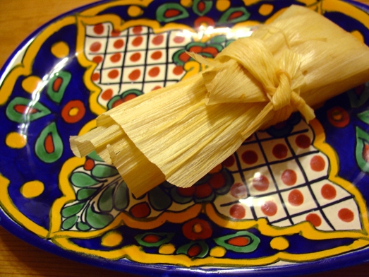 Wrapped Red-Chile Seitan Tamale.