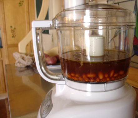 Beans and broth in food processor