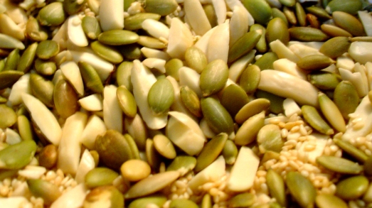 Toasted almonds, pepitas, and sesame seeds