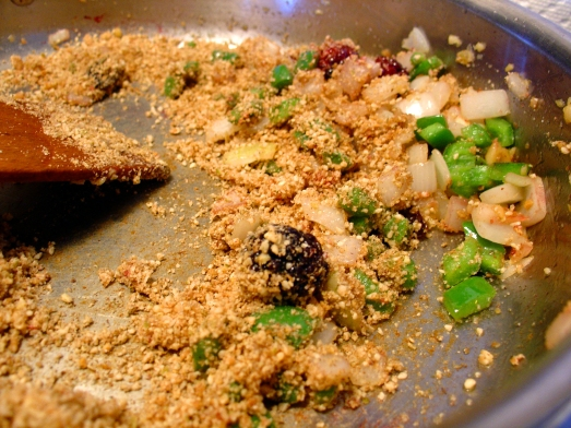 Sauteed onion, garlic, jalapeño, and dates, with the powdered dry ingredients